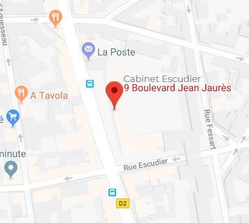 plan d'accès du cabinet Escudier du Dr Brunon à boulogne